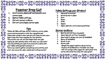 Restaurant Writing Center Passover! Reading Writing Vocabulary Holiday Food