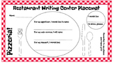 Restaurant Writing Center Pizzeria! Literacy, Reading, Writing, Food, Pizza