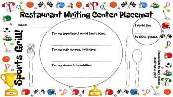 Restaurant Writing Center Sports Grill! Literacy, Reading, Writing and Food