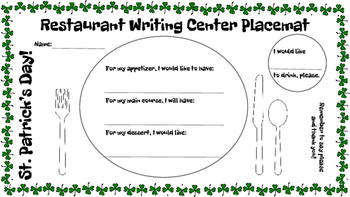 Restaurant Writing Center St. Patrick's Day! Reading Writing Food Holiday Green
