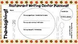 Restaurant Writing Center Thanksgiving! Literacy, Reading, Writing and Food