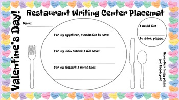 Restaurant Writing Center Valentine's Day! Literacy, Reading, Writing, Food