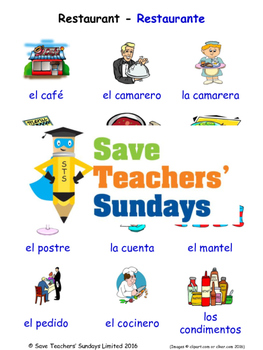 Restaurant in Spanish Worksheets, Games, Activities and Flash Cards