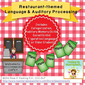 Restaurant Themed  Language Skills & Auditory Processing Cafe {Middle School}