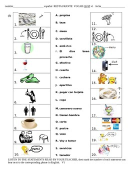 Spanish Restaurant Worksheet | Teachers Pay Teachers