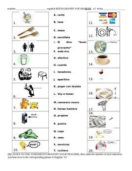 Restaurante Vocabulary Quiz Prueba vocabulario -Spanish Restaurant Vocabulary
