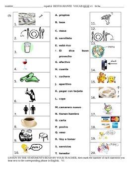 Restaurante Vocabulary Quiz Prueba vocabulario -Spanish Re