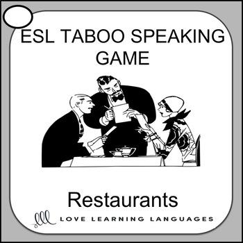 Restaurants - ESL - ELL Taboo Speaking Game