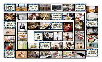 Restaurants and Fast Food Spanish Legal Size Photo Board Game