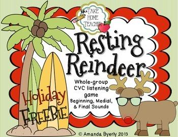 Resting Reindeer - CVC (beginning, medial,& final sounds) listening game