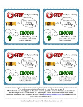 "Restitution Self-Discipline ""30 Second Intervention"" ""Stop, Think, Choose"" cards"