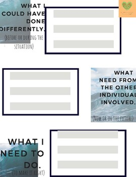 Restorative Behavior Reflection Sheet