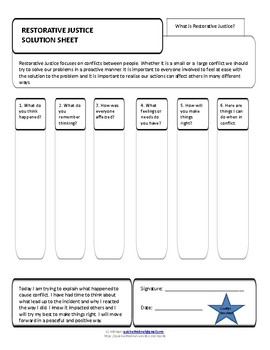 Restorative Justice Graphic Organizer Solution Sheet