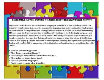 Restorative Justice Putting The Pieces Together Problem Solving Jigsaw Puzzle