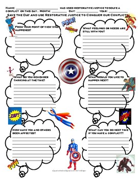 Restorative Justice Super Hero Conflict Resolution Sheet