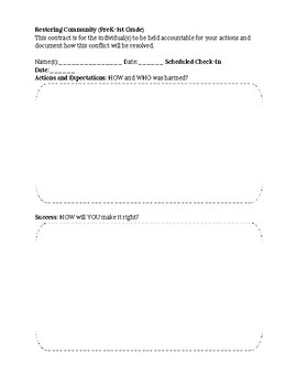 Restorative Justice Worksheet