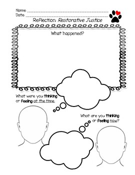 photograph regarding Restorative Justice Printable Worksheets called Restorative Justice Reflection Sheet Worksheets Education