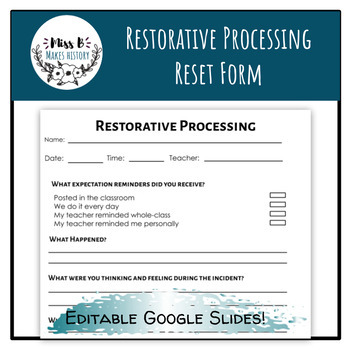 Restorative Practice Student Reset Form and Procedures