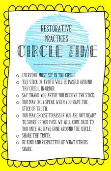 Restorative Practices- Circle Time Rules for Older Kids