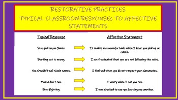 Restorative Practices: Typical Classroom Statements to Affective Statements