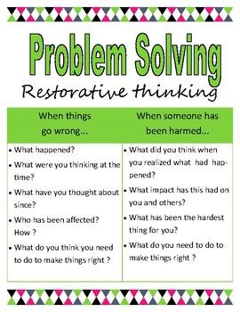 Restorative Problem Solving Chart