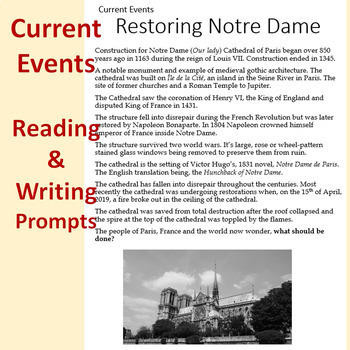 Restoring Notre Dame Current Events Reading & Writing Prompts