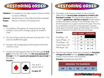 Restoring Order - 1st Grade Math Game [CCSS 1.NBT.B.3]