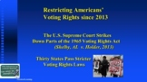 Selma, 1965 Voting Rights Act & Civil Rights Since the She