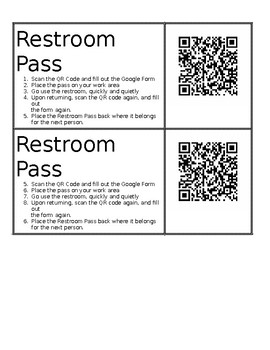 Restroom Passes with QR Codes