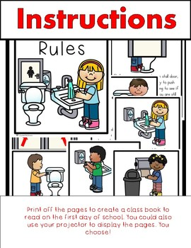 Bathroom Rules restroom rules class book (beginning of school bathroom rules) | tpt