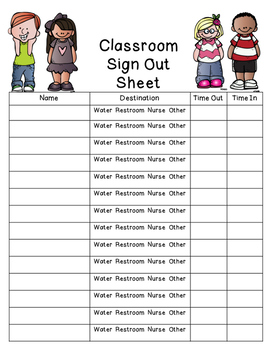 Bathroom Sign Out Sheet High School restroom sign out sheetsixth and savvy | teachers pay teachers