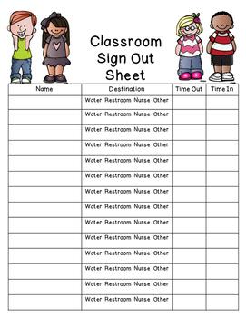 sign out sheet teaching resources teachers pay teachers
