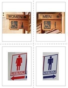 FREEBIE Restroom Signs Visual Flashcards
