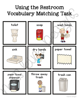 Restroom Vocabulary Folder Game for Students with Autism & Special Needs