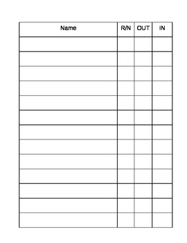 Bathroom Sign Out Sheet High School restroom and nurse sign out sheettreasure | teachers pay teachers