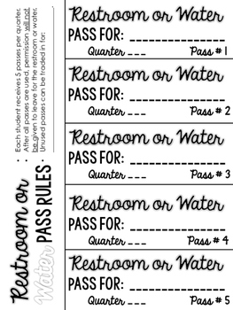 Restroom or Water Break Pass