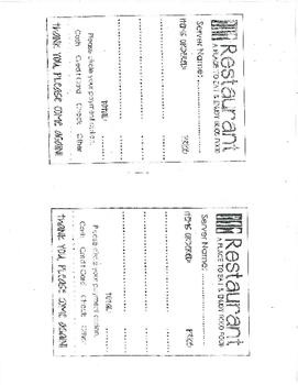 Resturaunt Menu and Order Forms