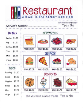 Resturaunt Menu and Order Forms