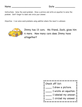 Result Unknown Story Problems for Differentiation - 1st grade Common Core