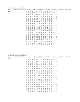Resume Activities PowerPoint Guided Notes Word Search