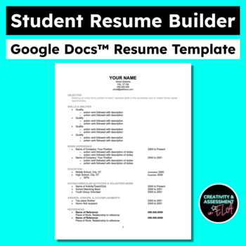 Student Resume Builder: Graphic Organizer With Google Doc Template Link