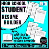 Student Resume Builder: Graphic Organizer & Google Doc Resume Template Link