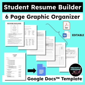Student Resume Builder Graphic Organizer Google Doc