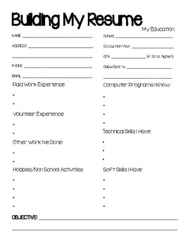 high school resume workbook