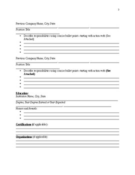 Resume Building Packet