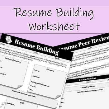Resume Building Worksheet By That Crazy Econ Teacher Tpt