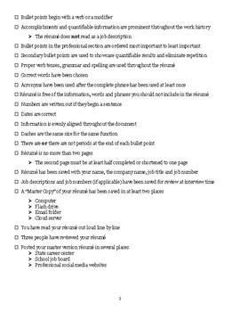 Résumé Checklist