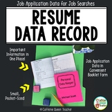 Career Readiness Resume Data Booklet for Job Applications