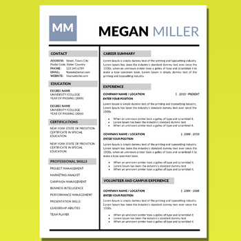 Creative Resume Template, Resume Editable, Resume Template
