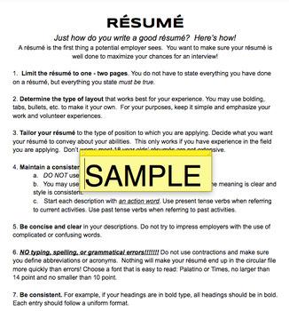 Resume Handout